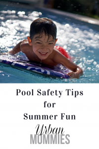 kid playing in pool with the text pool safety tips for summer fun