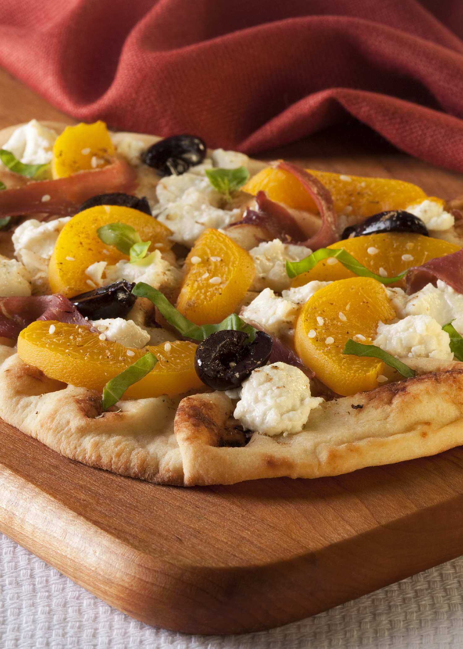 Peach Goat Cheese Basil Flatbread