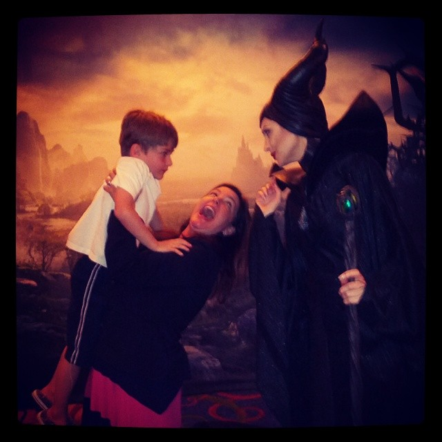 Jill Amery with her son and Maleficent