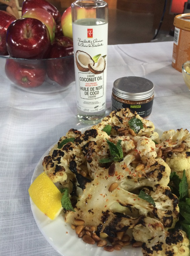 Harissa Cauliflower Steaks with Coconut Oil, Pine nuts and Mint