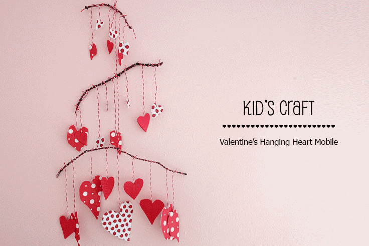Paper Heart Mobile Valentine S Day Craft For Kids Urban Mommies