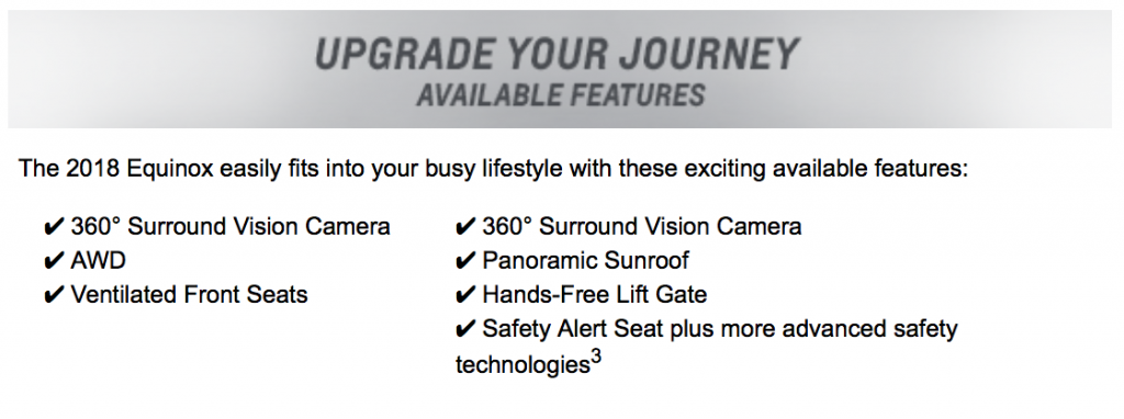 Equinox Available Features