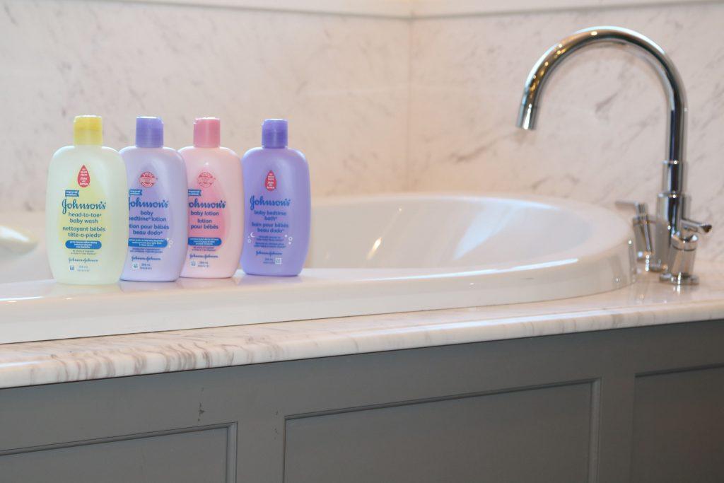 Johnson's bottles in the bathroom