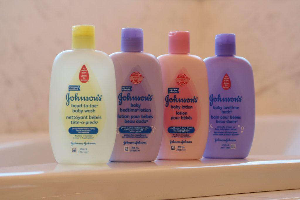 Johnson's bottles on the tub ledge