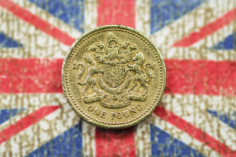 British Royal Family as symbolized by the pound and the flag