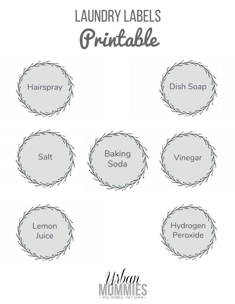 Laundry Stain Removers Printable