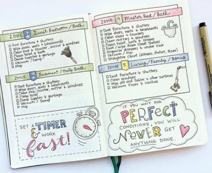 bullet journal cleaning calendar