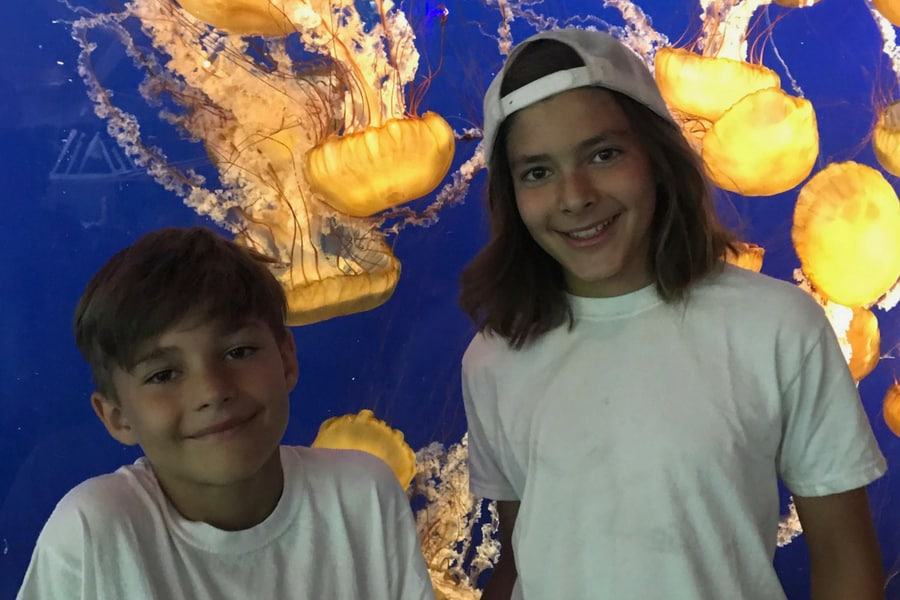 The boys in front of the jellyfish on our Air Miles adventure