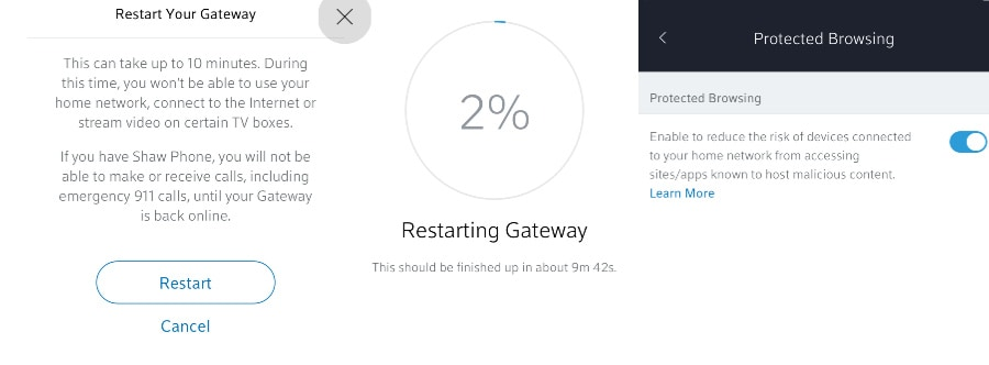 Restart Gateway and Protected Browsing