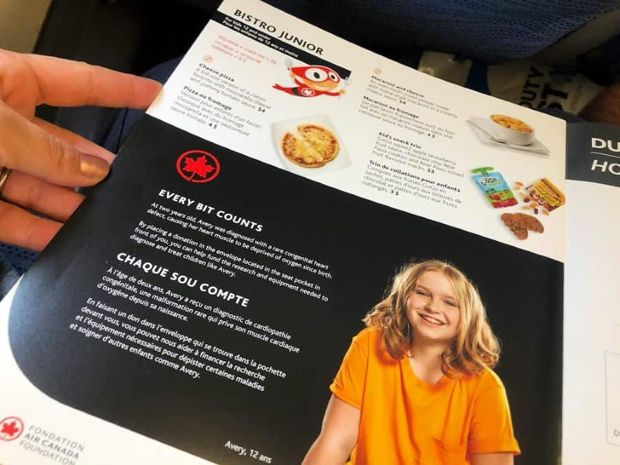 Air Canada Kids Menu