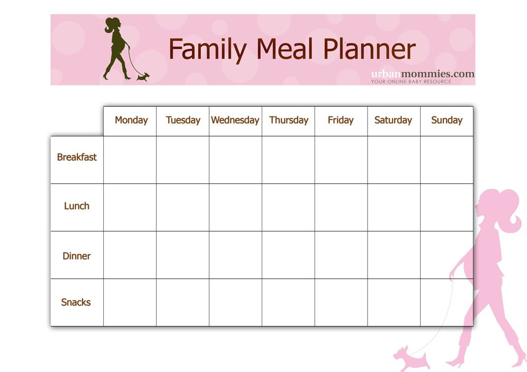 family meal planner urban mommies
